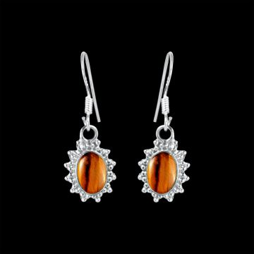 Tiger Eye Cabochon Stone Earring (1.8 Grm)
