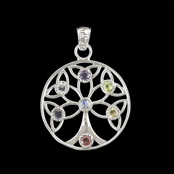Designer Tree Of Life Multi-Stone Pendant (6.8 Grm )