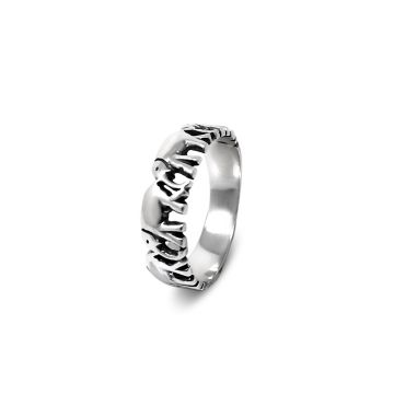 Sterling Silver Elephant Band Ring (2.2 Grm)