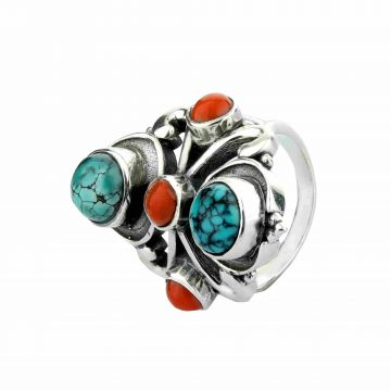 Turquoise Coral Cabochon Ring (14.8 Grm)